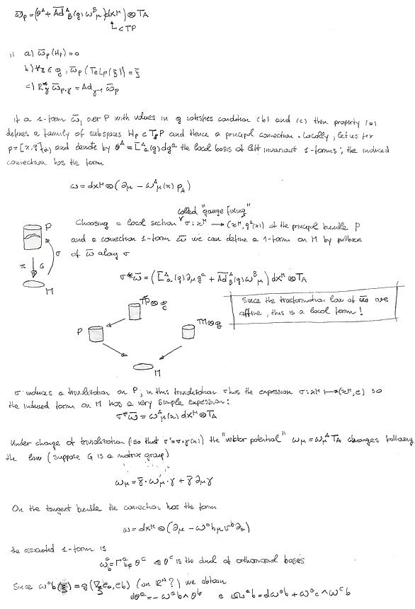Correlazione fra teoria di cartan e connessioni su fibrato.