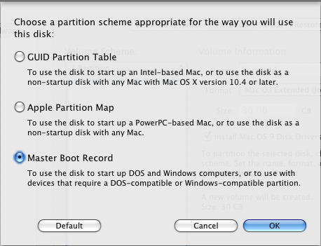 master boot record mac osx